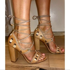 SCHUTZ Tan Embroidered Lace Up Heeled Sandals